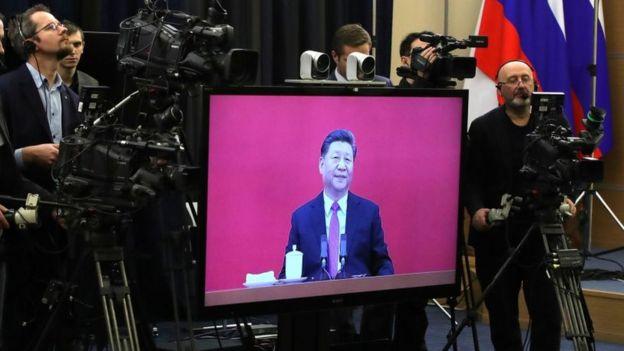 Xi Jinping, presidente de China, participando por videoconferência