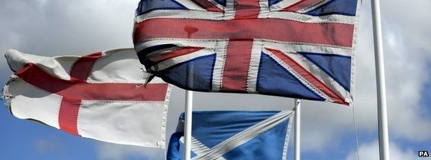 The Union Flag, the Cross of St George and the Saltire