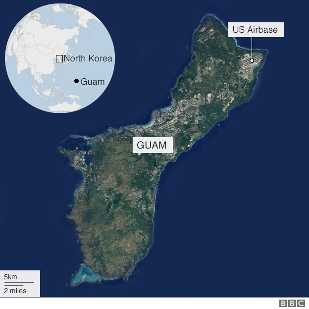 North korea guam missile strike plan ready by mid august bbc news map showing guam gumiabroncs Images