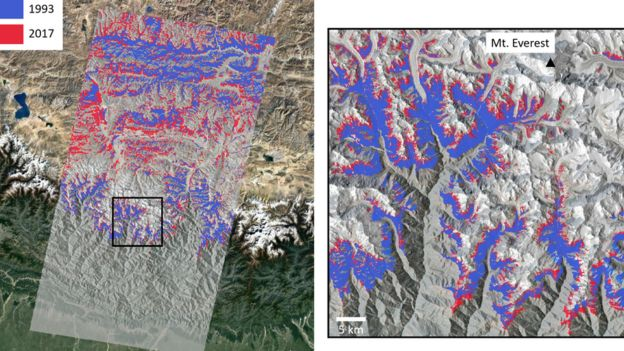 The extent of vegetation in 1993 (blue) vs 2017 (red), derived from Landsat data in the region around Mount Everest