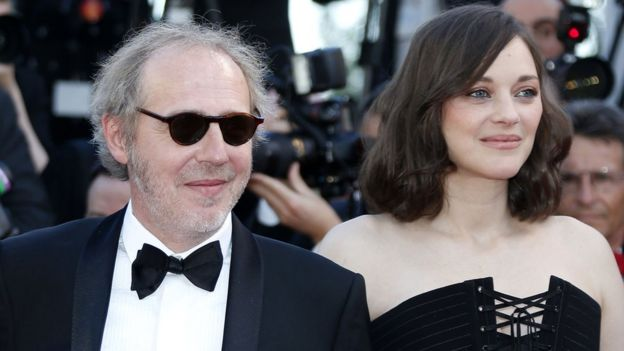 French director Arnaud Desplechin and French actress Marion Cotillard arrive for the screening of Ismael's Ghosts