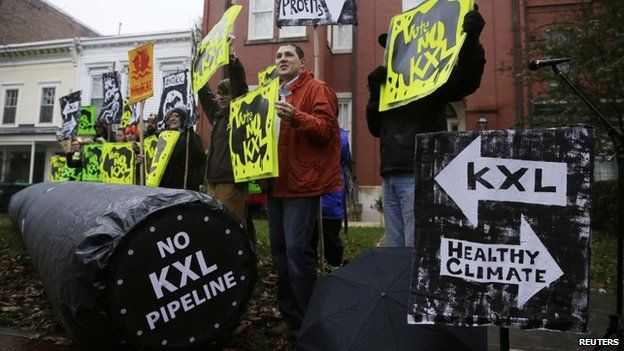 Climate advocates protested in Washington on 17 November 2014