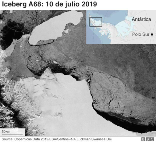 Trayectoria del iceberg A68