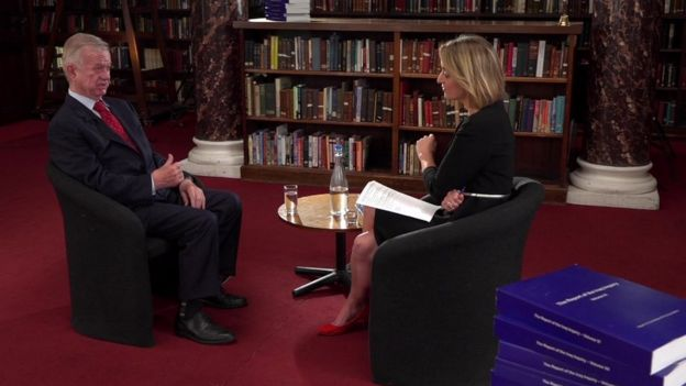Sir John Chilcot talking to the BBC's Laura Kuenssberg