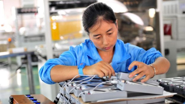 China lithium battery factory worker