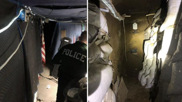 Images show sandbags lining a tunnel and police searching an area with fabric disguising it