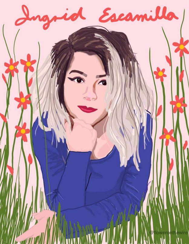 Mexican artist Sofia Tello Moscarella drew Ingrid Escamilla to remember her positively