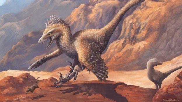 Ilustración de un velociraptor