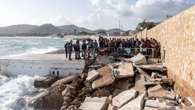 Spanish Prime Minister, Pedro Sanchez visits the area affected by storm Gloria in Cala Rajada, Majorca, Spain, 23 January 2020