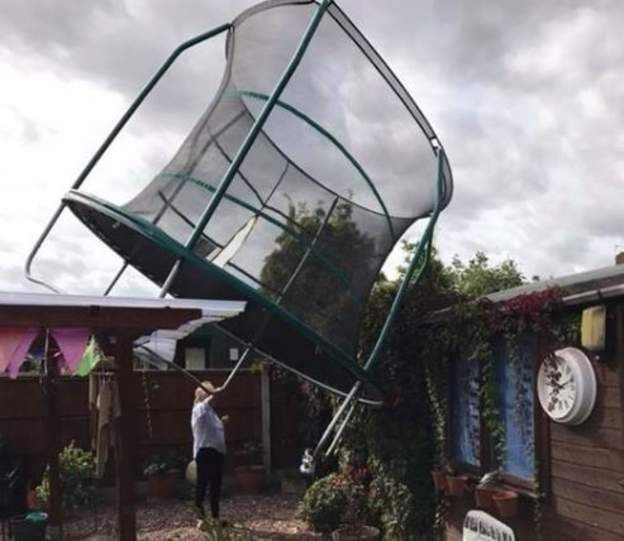 A trampoline lifts off in Shifnal, Shropshire