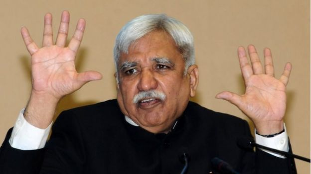 India's Chief Election Commissioner Sunil Arora addresses a press conference in New Delhi, India, 10 March 2019. The Chief Election Commissioner has announced that the polls for the upcoming general elections will be held from 11 April 2019 onwards in seven phases with counting of votes scheduled to take place on 23 May 2019