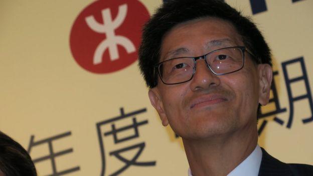 梁國權在港鐵業績發佈會上(BBC News中文圖片9/8/2018)