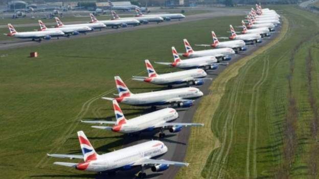 Kimwe na kompanyi nyinshi z'indege ku isi ubu nta kazi, izi ni indege za British Airways