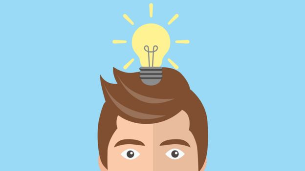 Drawing of a man with a light bulb on his head.