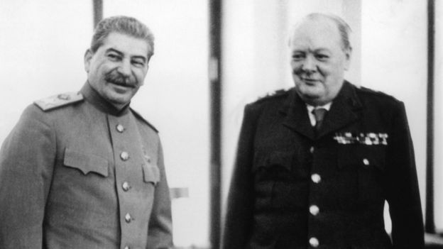 Сталин и Черчилль в 1945 году
