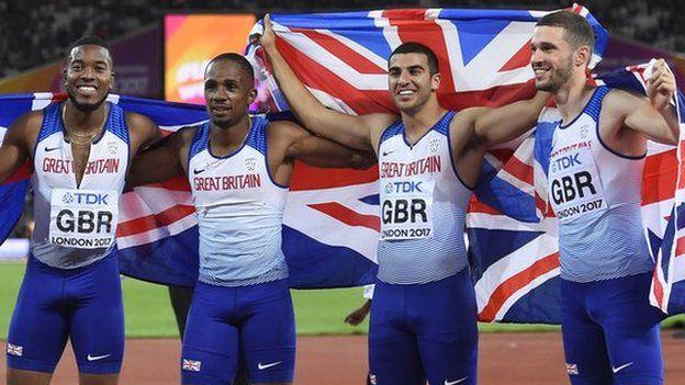 Chijindu Ujah, Adam Gemili, Daniel Talbot and Nethaneel Mitchell-Blake of Britain