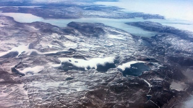A vast frozen swathe of Greenland is seen in this aerial shot