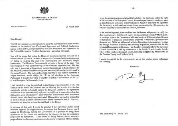 May'in AB Konseyi Başkanı Donald Tusk'a gönderdiği mektup.