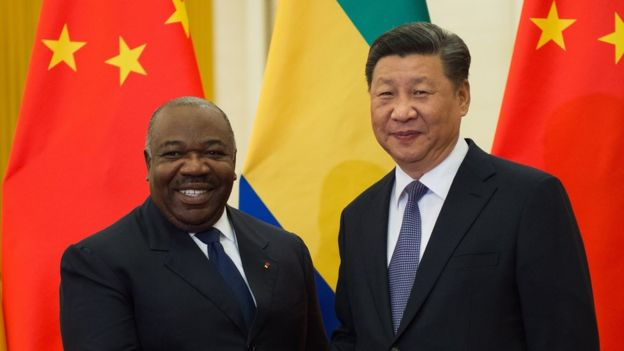 "Gabon""s President Ali Bongo Ondimba (L) shakes hands with China""s President Xi Jinping (R) before their bilateral meeting at the Great Hall of the People, Beijing, China, 01 September 2018."