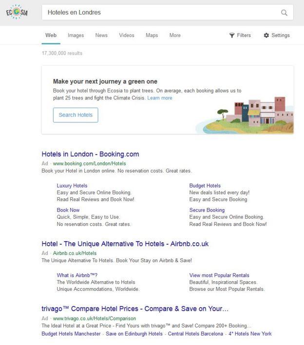Resultados de una búsqueda en Ecosia