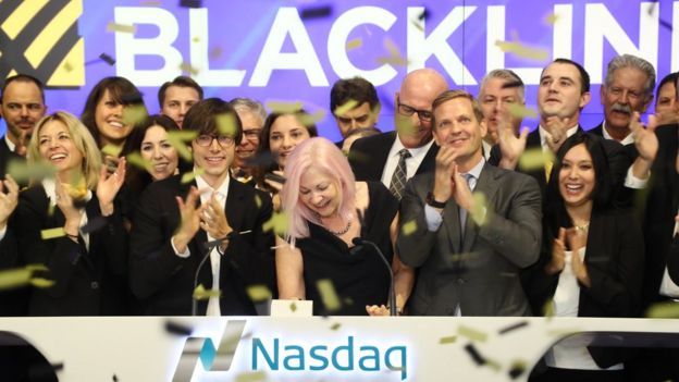 Therese Tucker and BlackLine colleagues at the Nasdaq stock exchange in New York