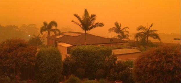 Orange sky over Merimbula, NSW, Australia