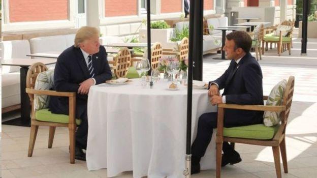 امانوئل مکرون و دونالد ترامپ ظهر شنبه با هم نهار خوردند