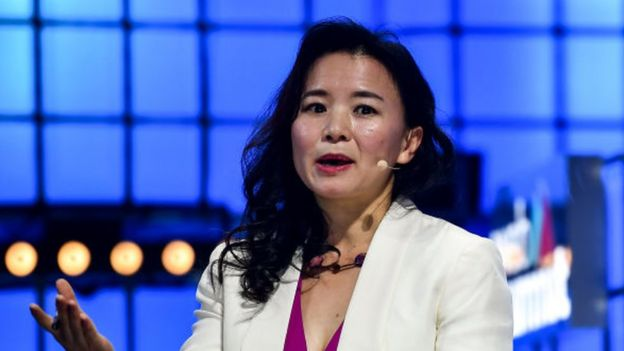 Cheng Lei speaking at a web summit in Portugal, November 2019