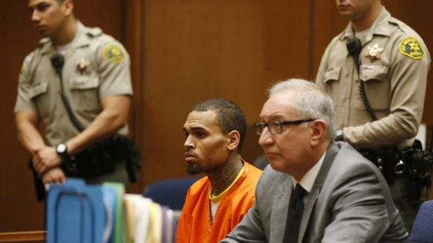 Chris Brown in court in 2014