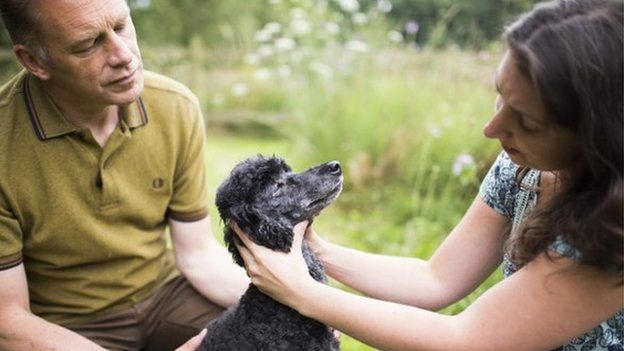Christ Packham and Lyme disease sufferer Sarah Bignell and dog