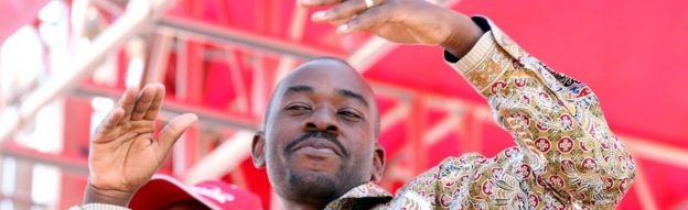 Nelson Chamisa at a rally in Harare, Zimbabwe