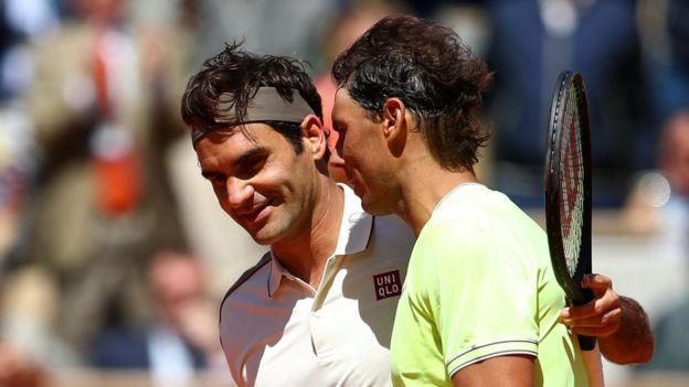 Roger Federer y Rafael Nadal en Roland Garros 2019