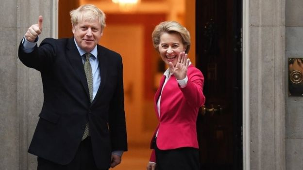 Boris Johnson and Ursula von der Leyen outside Downing Street