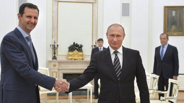 Bashar al Asad y Vladimir Putin, en Moscú, octubre 2015