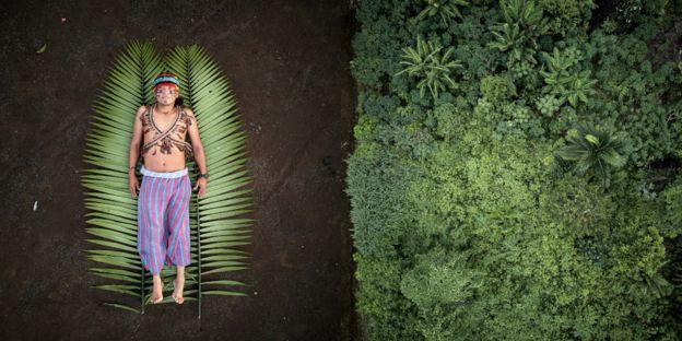 رجل يفترش سعفتين خضراوين