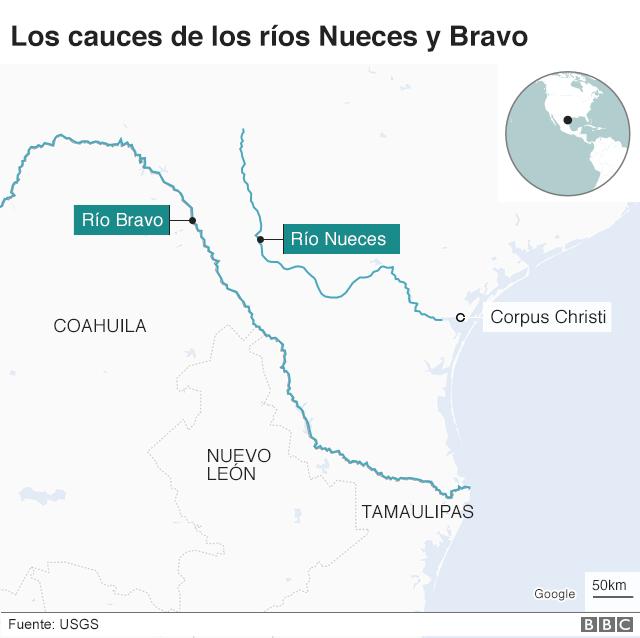 Mapa del río Nueces y Bravo