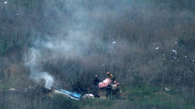 Imagen aérea del accidente en el que murieron Kobe Bryant, su hija Gianna y otras 7 personas