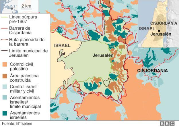 Mapa áreas de Jerusalén.