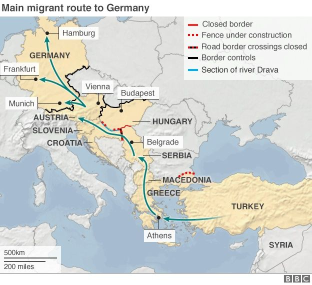 map of route of many migrants