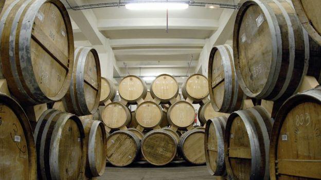 Brandy barrels in Armenia