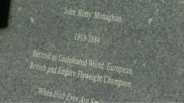 The inscription on Rinty Monaghan's statue makes reference to his love of singing after matches