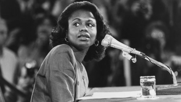 Anita Hill testifying in 1991