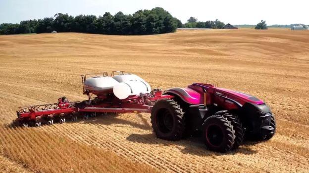 Autonomous tractor in field