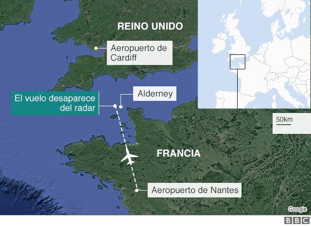 Mapa de la zona donde desapareció el avión.