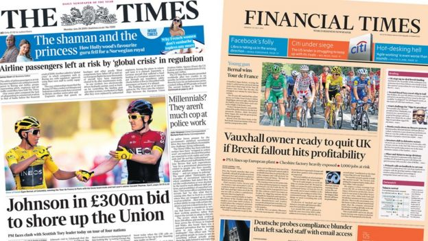 Front pages of the Times and the Financial Times