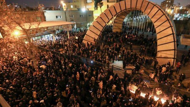 Crowd outside Amir Kabir University on Saturday