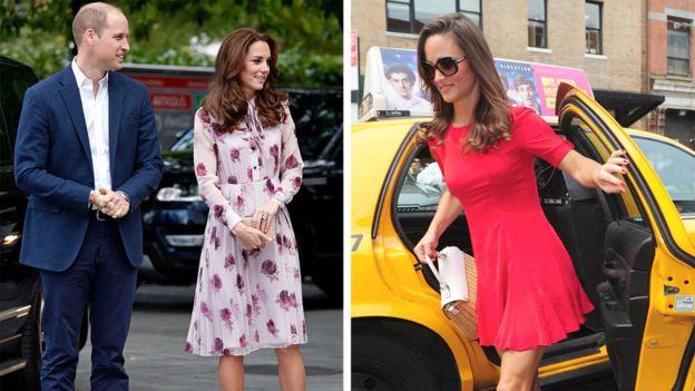 در این عکس کاترین میدلتون، همسر ویلیام شاهزاده بریتانیا و خواهرش پیپا دیده میشوند که هر دو لباسهای کیت اسپید بر تن دارند