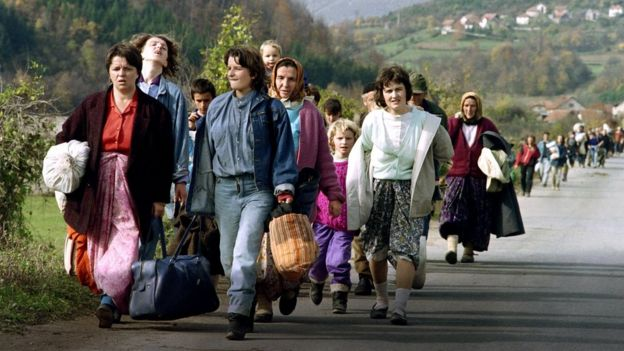 Bosnian women displaced by the war of independence from Yugoslavia pictured in October 1992