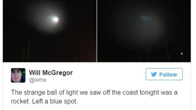 Mysterious Light In Sky Spooks California Bbc News