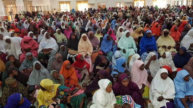 Thousands of women watching the BBC documentary in Keffi, Nigeria